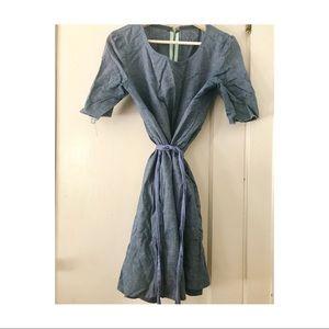 Sz L Vintage HANDMADE boxy chambray denim dress